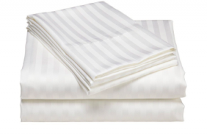 Striped satin fitted sheet or flat sheet